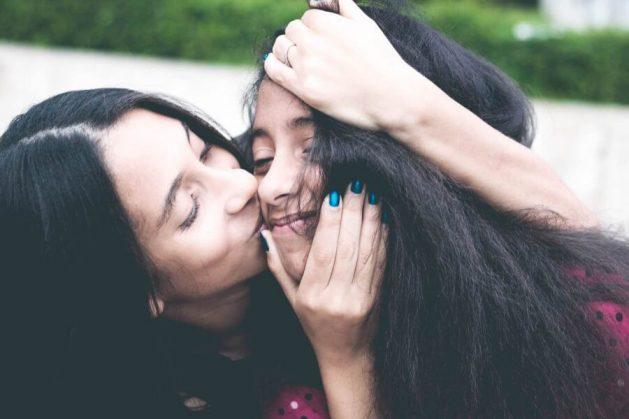 Mom and daughter hug