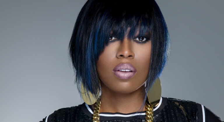 Missy Elliot short hairstyles with bangs