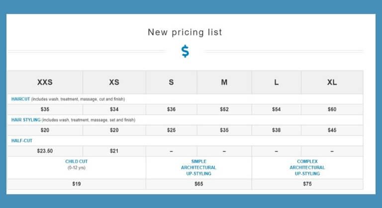 Liste de prix de coupe de cheveux neutres entre les sexes
