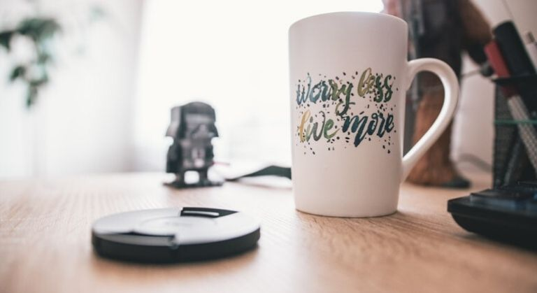 Worry less live more quote on mug