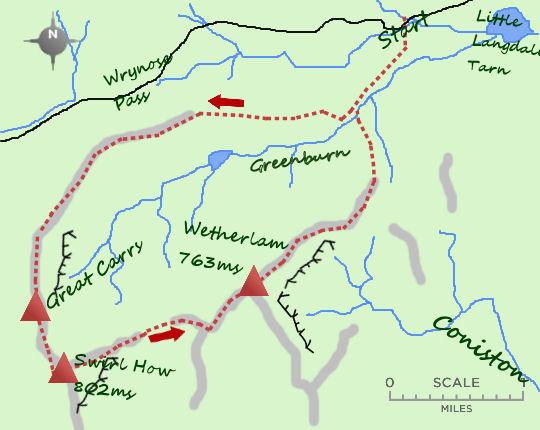Great Carrs & Wetherlam map