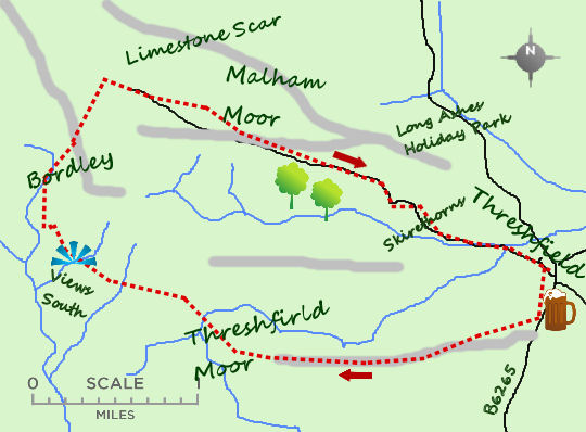 Malham Moor from Threshfield map
