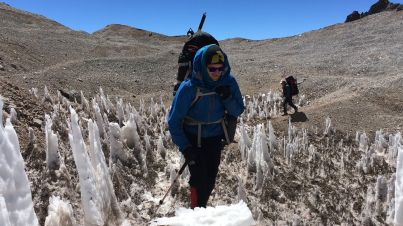 Penitentes snow formations on the way up Aconcagua