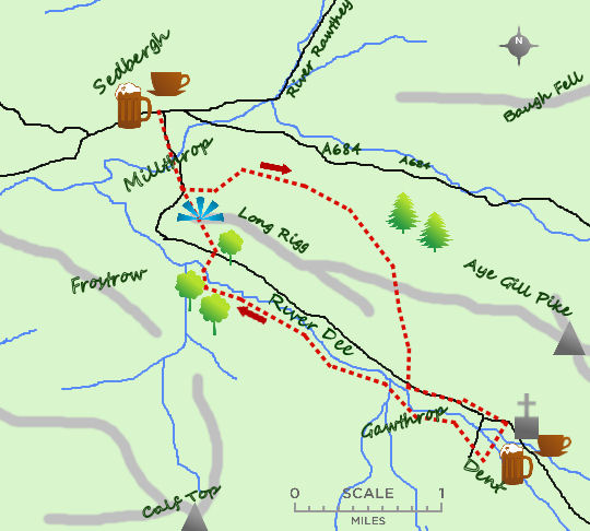 Sedbergh to Dent map