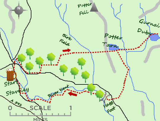 Staveley & Potter Fell map