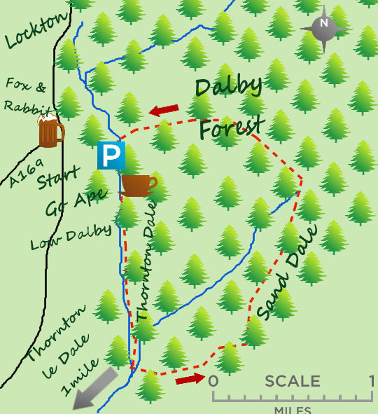 A walk in Dalby Forest and along Thornton Dale