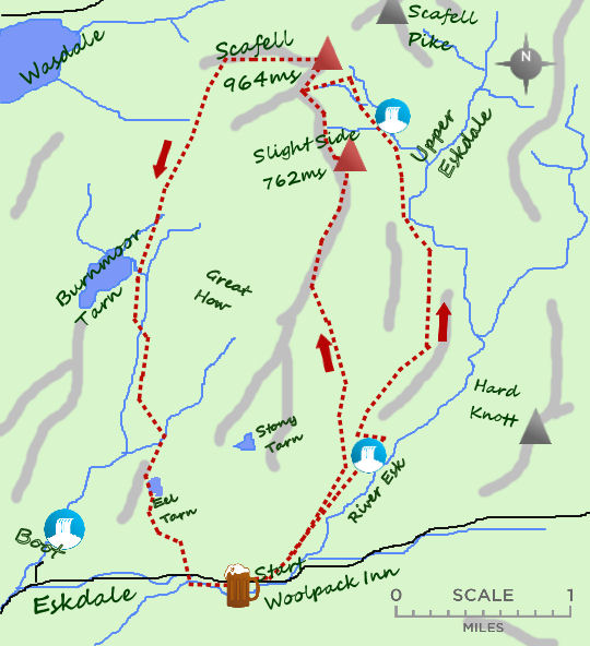 Scafell from Eskdale map