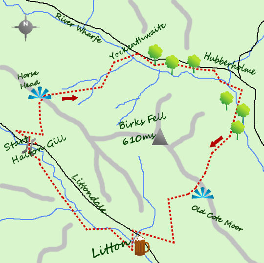 Littondale valleys map