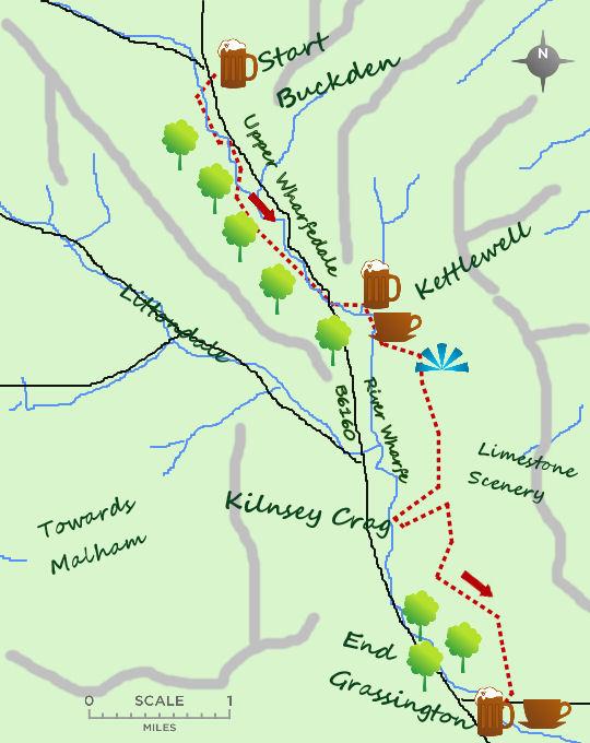 Buckden to Grassington map