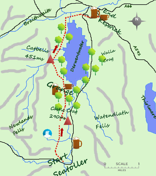 Seatoller to Keswick map