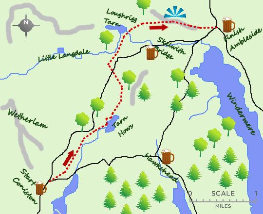 Coniston to Ambleside map