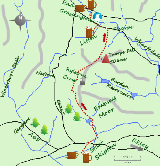Skipton to Grassington map