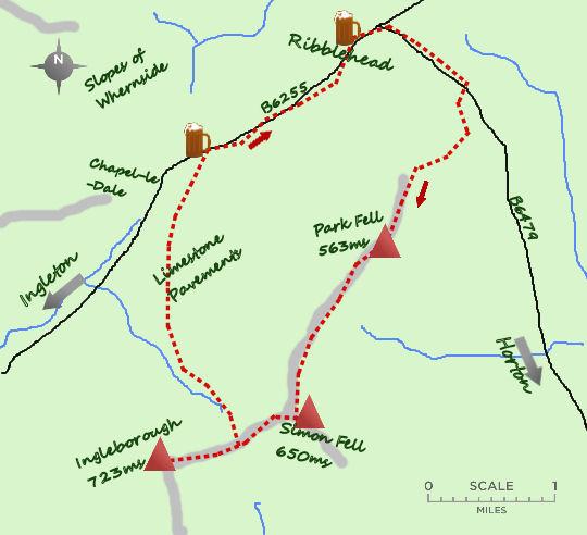 Ingleborough fr Ribblehead map
