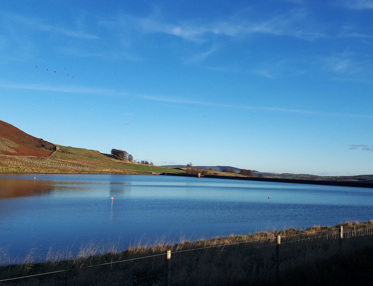The dam wall at Embsay Reservoir