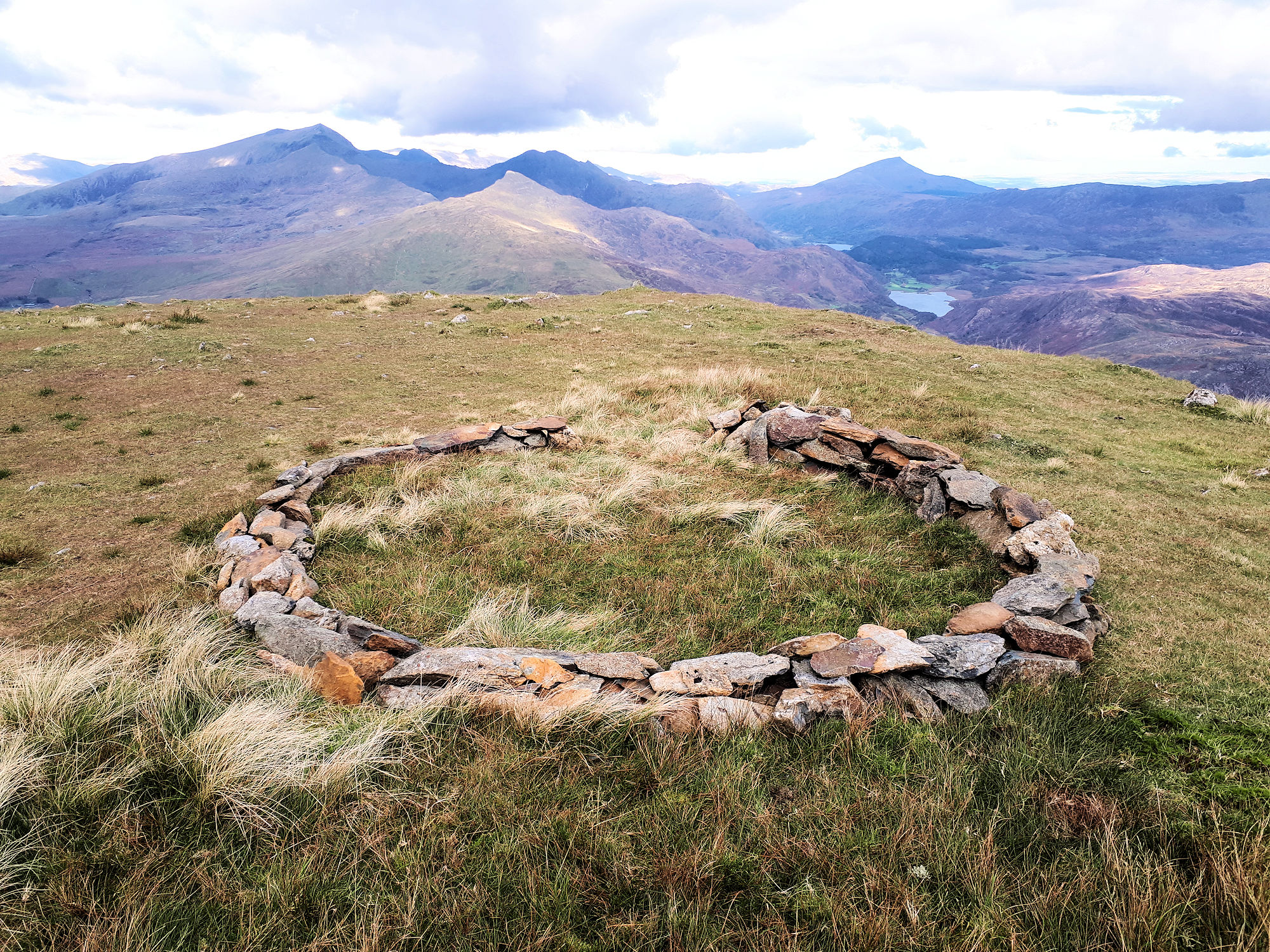Stone circle on the summit