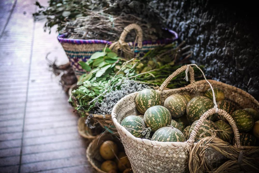Herbs and vegetables in baskets in Essaouira, Morocco