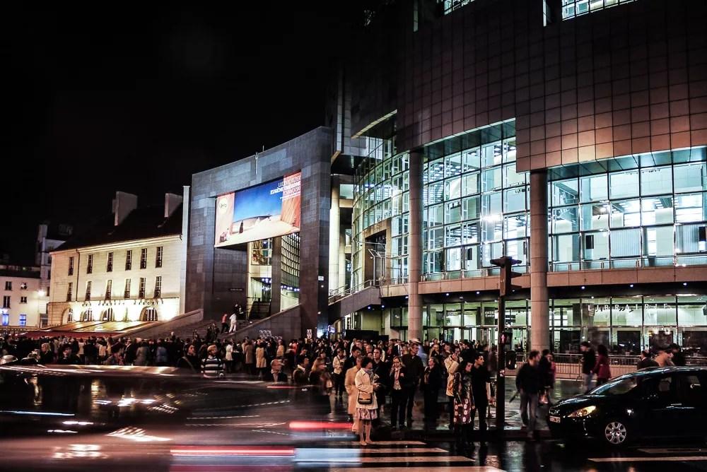People Outside Opera Bastille At Night