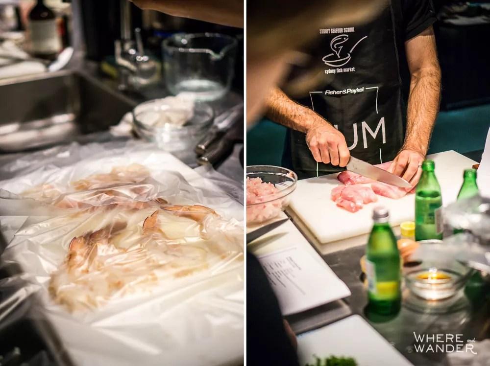 Sydney Seafood School Prepping Shrimp