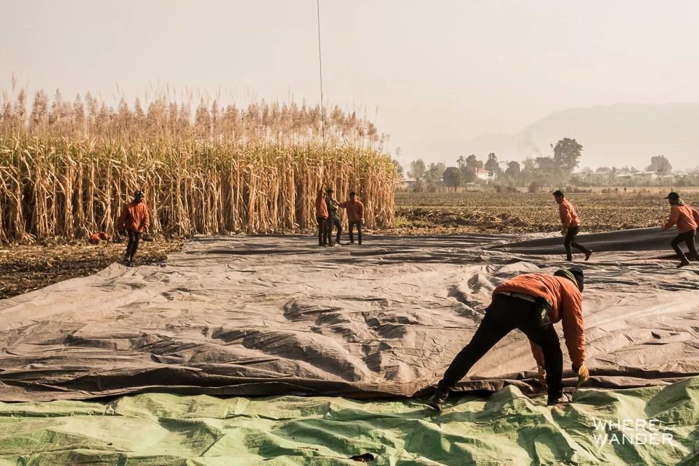 Deflating Hot Air Balloon After Landing In Farmer's Field