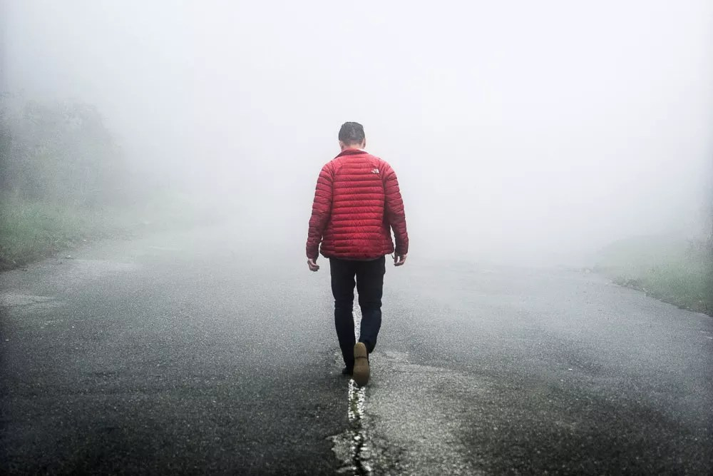 North Face Down Jacket being worn in the fog