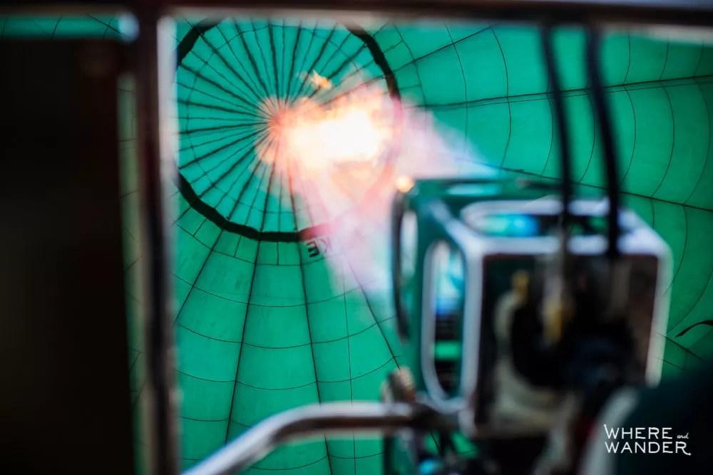 Close Up Of Flame Burner Inflating Hot Air Balloon