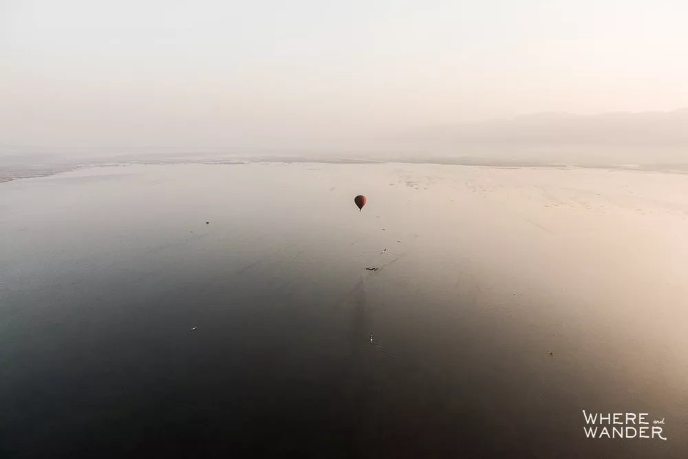 Aerial View Of Hot Air Balloon Emergency Test Landing Over Water