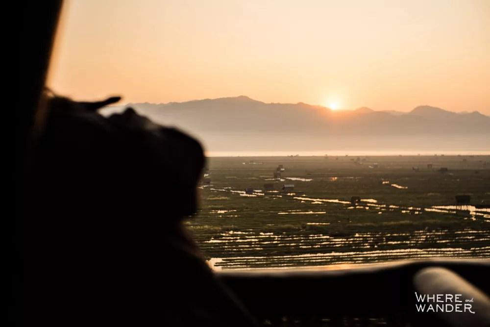 Sunrise Over Mountain Ranges Around Inle Lake In Myanmar
