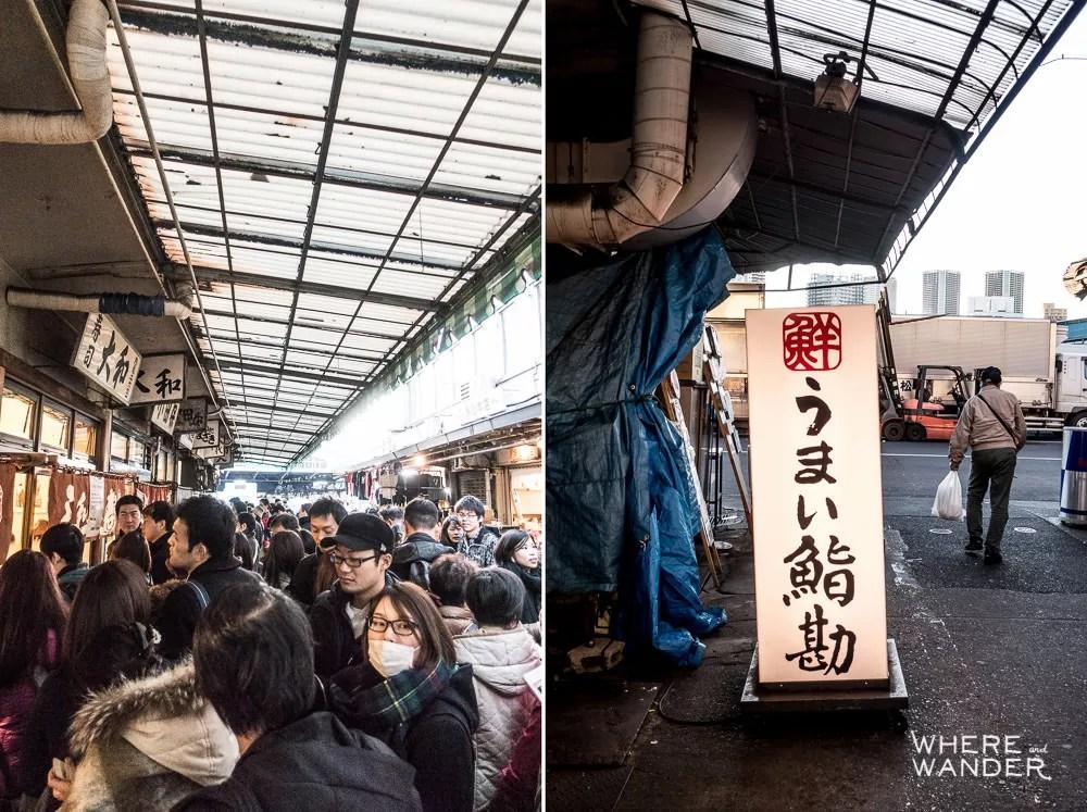 Waiting In Line Outside Sushi Dai At Tsukiji Fish Market