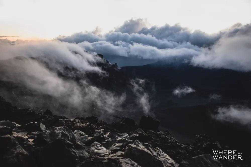Sunrise on top of Haleakala Crater