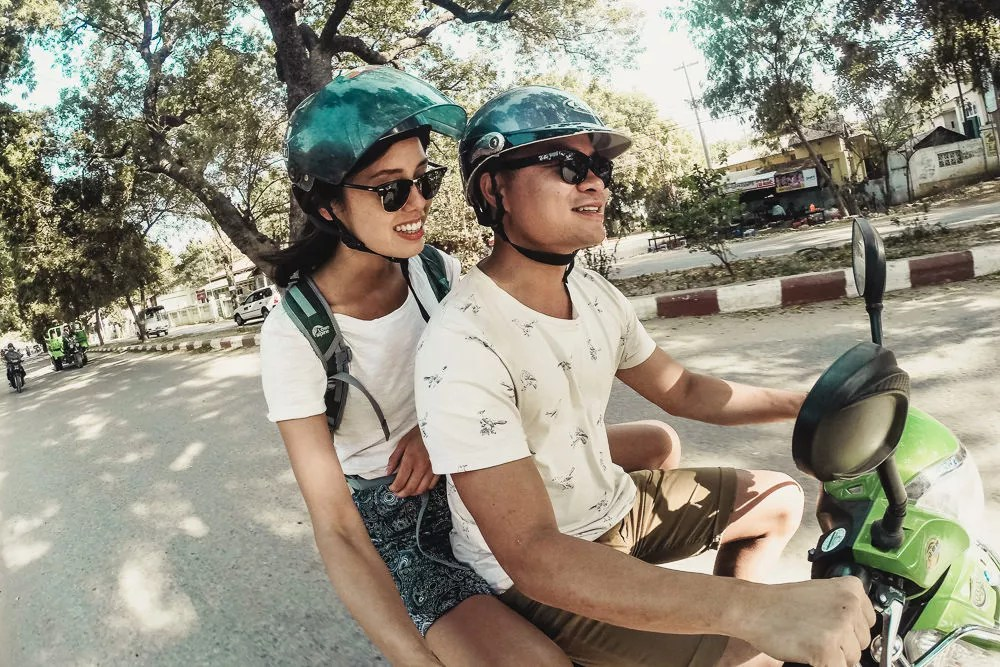 Riding rental electric bikes in Bagan