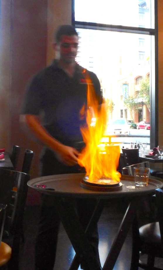 Saganaki/Flaming Cheese Photo: Maralyn D. Hill