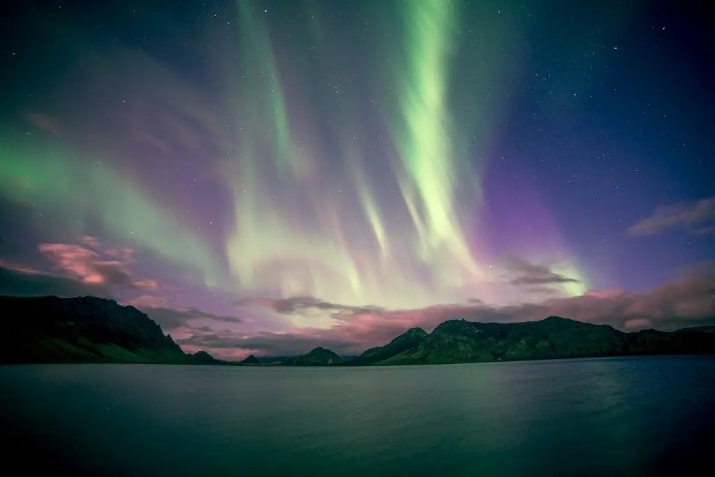 Northern Lights viewed above the Scottish islands