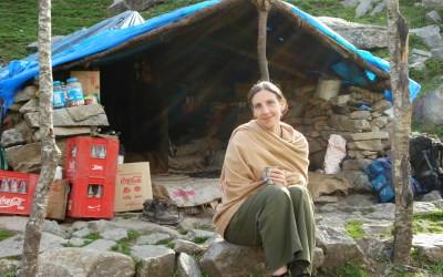 Sleeping out in the Himalayas: Karen tries a tent for the first time