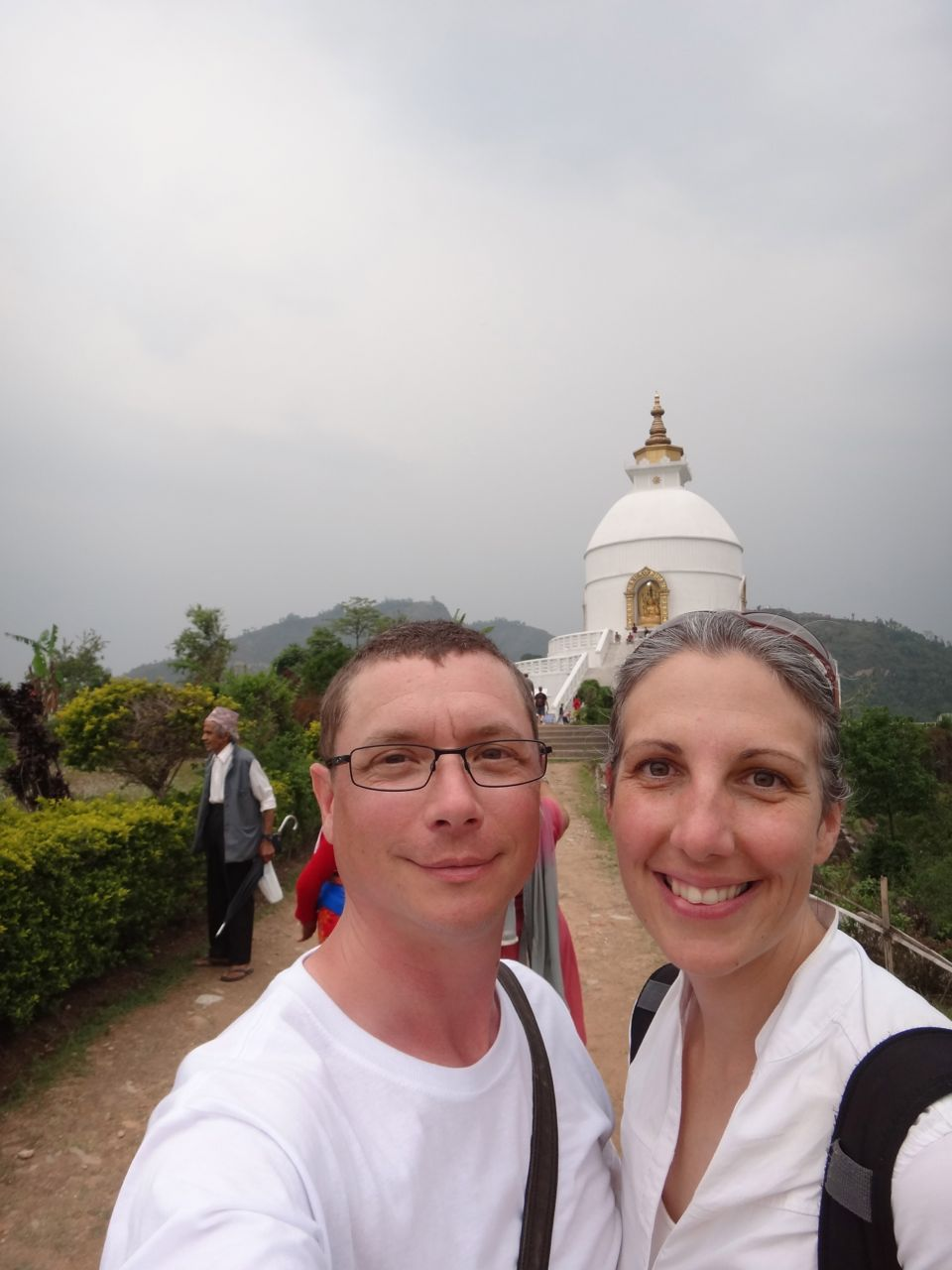 We made it to the top. Obviously, that's the Peace Pagoda behind us.
