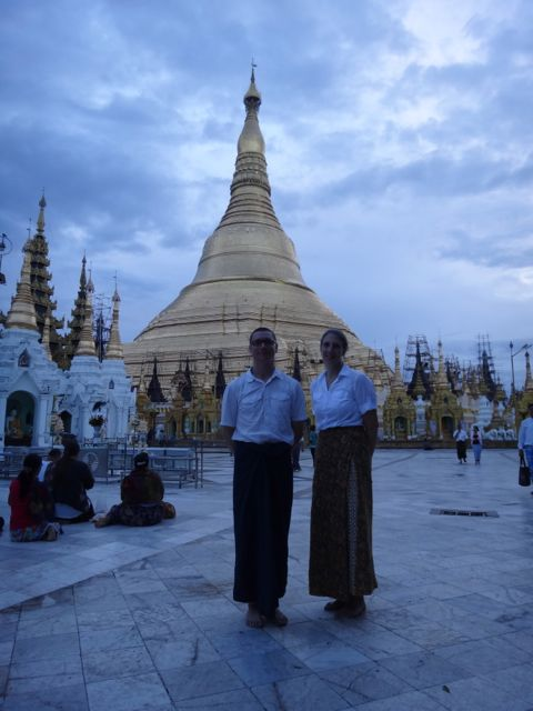 Us at sunrise at Shwedagon pagoda.
