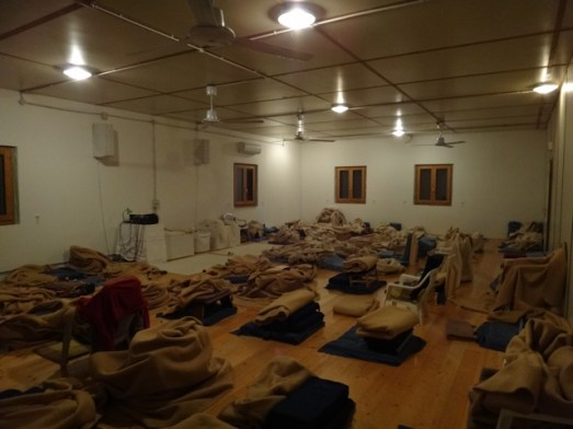 Inside the meditation hall at the end of the course. It was a tight room for 70 plus people!