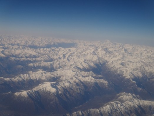 It took us about 30 minutes to fly over the Alps. Magnificent.