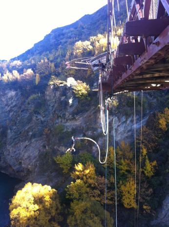 Watching other people bungy jump!