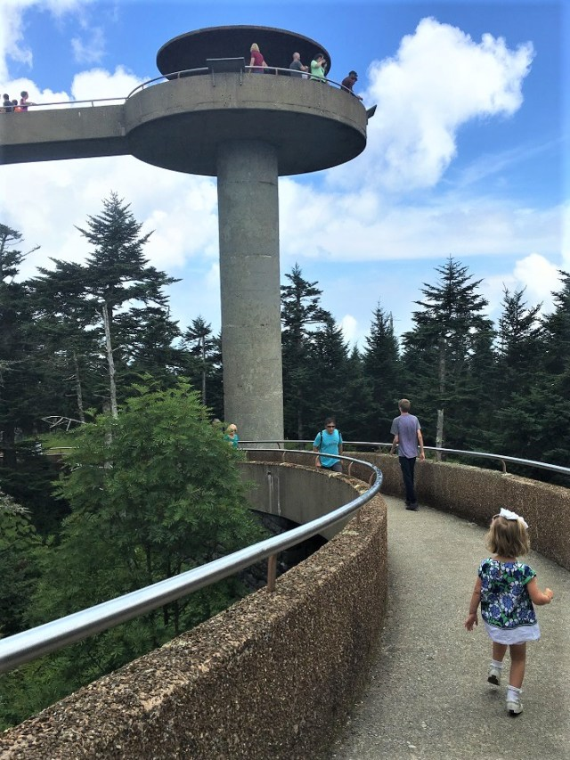 Emelia hiking to the top of Clingman's Dome