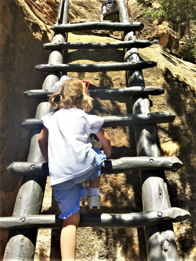 Emelia climbing one of the several ladders leading to Cliff Palace.