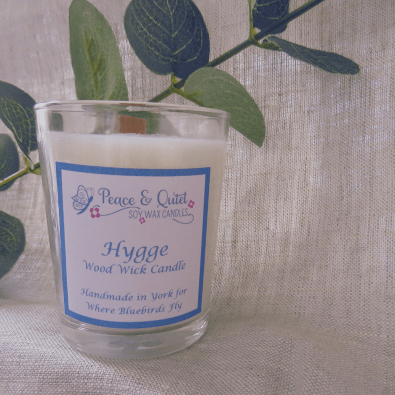 Hygge- wooden wicked candle, by Where Bluebirds Fly