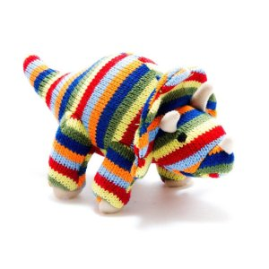 Colourful Knitted Dinosaur- Baby Rattle