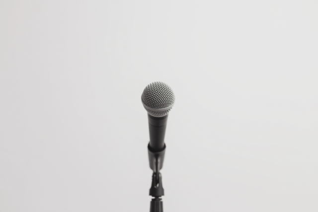 A close up of a microphone