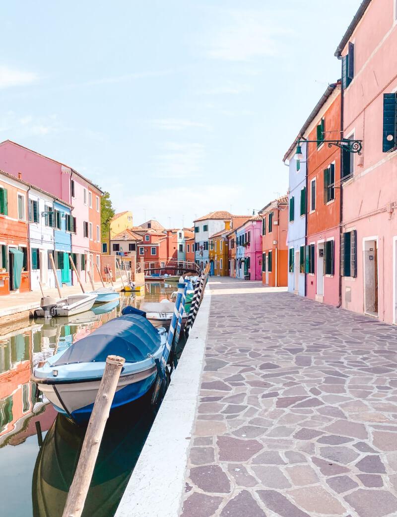 image of coloured street in Burano Venice