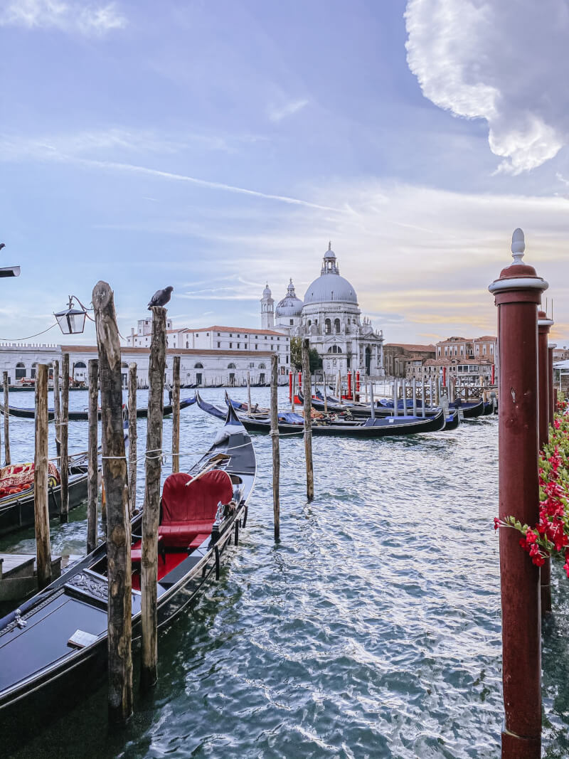 image of cathedral, lagoon and gondolas in Venice
