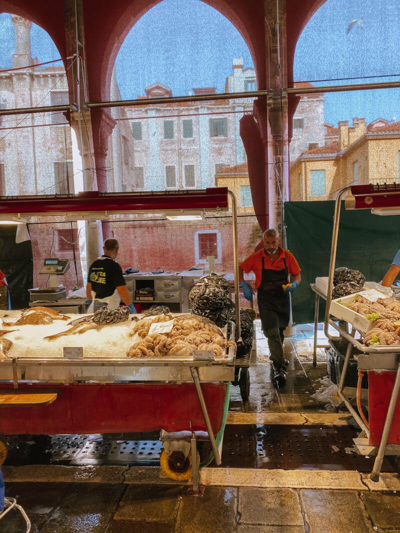 image of fish in Rialto Market, 3 days in Venice