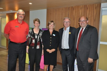 Library board chair Wayne Buchholtz, Dr. Liana Nolan, CEO Mary Chevreau, Bryan Stortz from RoW, and Kitchener Mayor Berry Vbranovic.