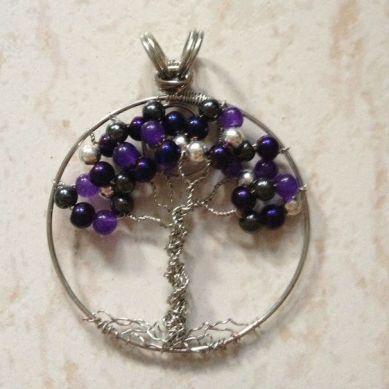 purple tree of life pendent