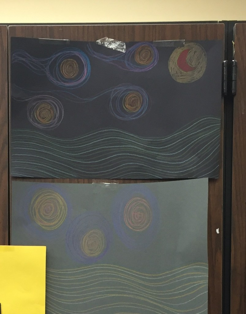 Drawing of Van Gogh's Swirls, moon, stars, and hils