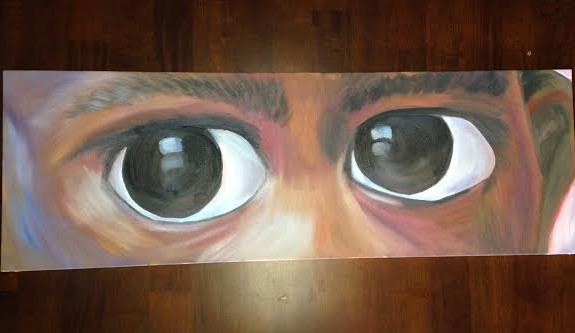 oil painting of close up of eyes